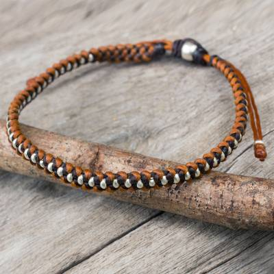 Silver accent braided bracelet, 'Brown Tan Progression' - Silver Beads on Brown and Tan Wristband Bracelet