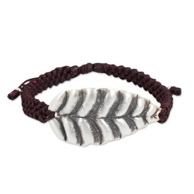 Hill Tribe Jewelry Silver Leaf in Burgundy Cord Bracelet