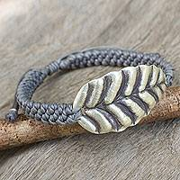 Silver wristband bracelet, 'Turn a New Grey Leaf' - Grey Wristband Bracelet with Hill Tribe Silver Leaf Pendant