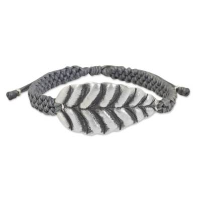 Grey Wristband Bracelet with Hill Tribe Silver Leaf Pendant