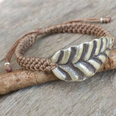 Silver wristband bracelet, 'Turn a New Khaki Leaf' - Khaki Wristband Bracelet with Hill Tribe Silver Leaf Pendant