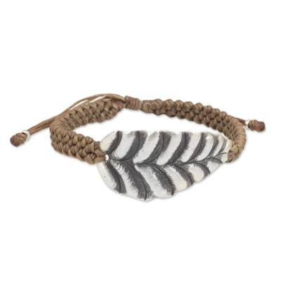 Khaki Wristband Bracelet with Hill Tribe Silver Leaf Pendant