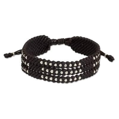 Silver 950 Beads in Dark Brown Macrame Wristband Bracelet