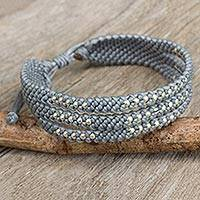 Silver accent wristband bracelet, 'Starlight and Mist' - Thai Wristband Bracelet in Pale Grey with Silver 950 Beads