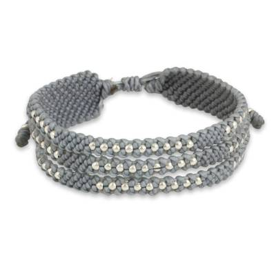 Thai Wristband Bracelet in Pale Grey with Silver 950 Beads