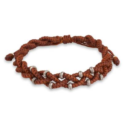 Russet Brown Braided Macrame Bracelet with Silver