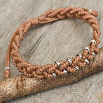 Silver accent wristband bracelet, 'Nutmeg Hill Tribe Bride' - Hill Tribe Silver Macrame Bracelet in Nutmeg Brown