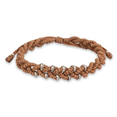 Hill Tribe Silver Macrame Bracelet in Nutmeg Brown