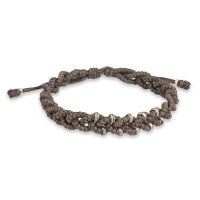 Grey Braided Macrame Bracelet with Karen Tribe Silver