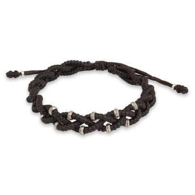 Braided Macrame Bracelet in Espresso Brown with Silver 950