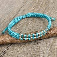 Silver accent wristband bracelet, 'Blue Infinity Twins' - Thai Hand Knotted Wristband Bracelet with Silver 950 Beads