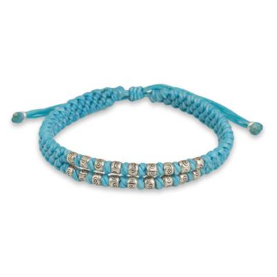 Thai Hand Knotted Wristband Bracelet with Silver 950 Beads