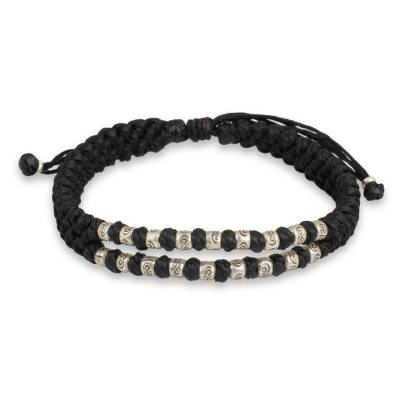Thai Macrame Black Wristband Bracelet with Silver 950 Beads