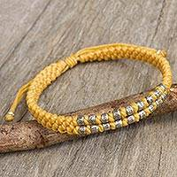 Silver accent wristband bracelet, 'Yellow Infinity Twins' - Hand Knotted Yellow Thai Wristband Bracelet with Silver 950