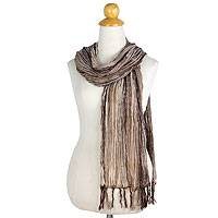 Cotton batik scarf, 'Cocoa Paths' - Hand Crafted Striped Batik Scarf in Brown Shades