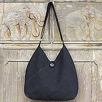 Cotton hobo bag with coin purse, 'Surreal Black'