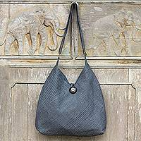 Cotton hobo bag with coin purse,  'Surreal Grey' (Thailand)