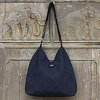 Cotton hobo bag with coin purse Surreal Blue Thailand