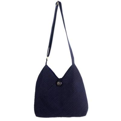 Navy Blue Cotton Hobo Bag with Coin Purse and Multi Pockets