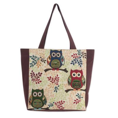 Forest Owls Cotton Blend Tote Bag in White and Brown (Large)