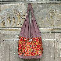 Cotton sling bag, 'Floral Wilderness' - Brown Cotton Thai Sling Bag with Multicolor Flowers