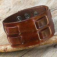 Men's leather wristband bracelet, 'Rugged Weave in Brown'