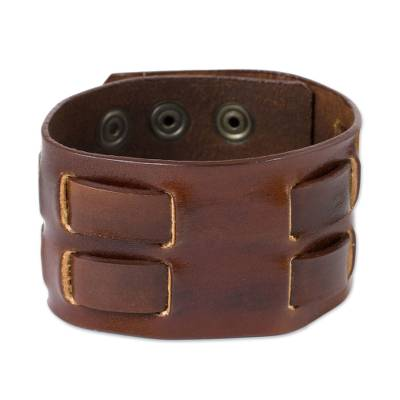 Leather Wristband Bracelet for Men Crafted by Hand