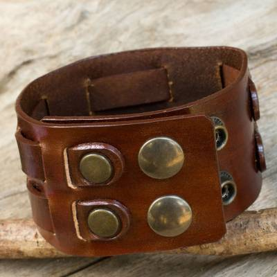 Men's leather wristband bracelet, 'Rugged Weave in Brown' - Leather Wristband Bracelet for Men Crafted by Hand