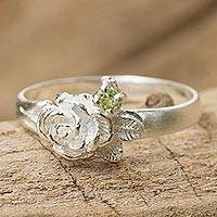 Peridot flower ring, 'Chiang Rai Camellia' - Artisan Crafted Peridot Floral Ring from Thailand