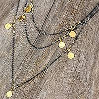 Gold accent labradorite wrap necklace, 'Urban Grandeur' - Sterling Silver Necklace with Labradorite and Gold Accents