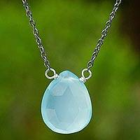 Blue chalcedony pendant necklace, 'Joy Within' - Chalcedony Necklace with Sterling Silver and Gold Accents
