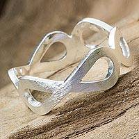 Sterling silver ring, 'Infinity Embrace' - Handcrafted Women's Brushed Silver 925 Infinity Symbol Ring