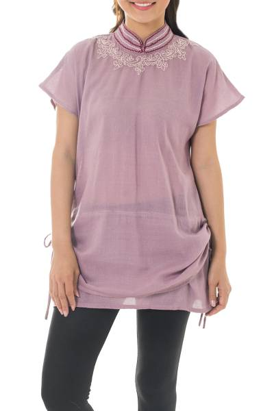 Cotton tunic, 'Sensational Siam' - Mauve Hand-Embroidered Cotton Tunic from Thailand