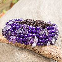 Amethyst quartz beaded bracelet, 'Boho Nature' - Amethyst Beaded Stretch Bracelet Crafted by Hand in Thailand