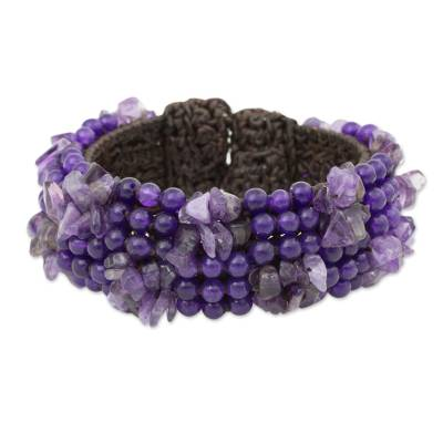 Amethyst Beaded Stretch Bracelet Crafted by Hand in Thailand