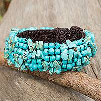 Calcite beaded bracelet, 'Boho Nature' - Artisan Crafted Calcite Beaded Stretch Bracelet Thailand