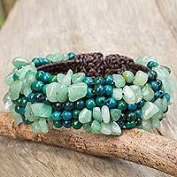 Serpentine and quartz beaded bracelet, 'Boho Nature' - Serpentine and Green Quartz Beaded Wristband Bracelet