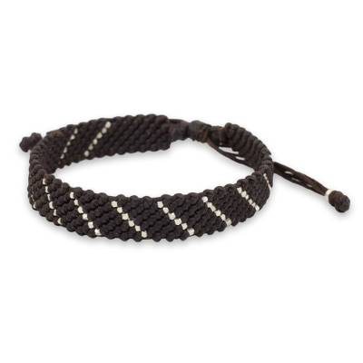 Modern Hill Tribe Silver Dark Brown Wristband Bracelet
