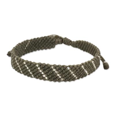 Hill Tribe Silver Dark Modern Green Wristband Bracelet