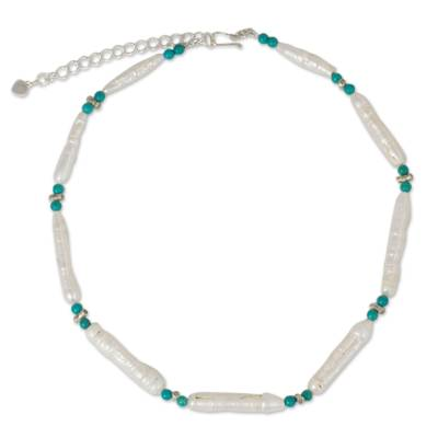Biwa Pearl Necklace Hand Crafted with Calcite and Silver