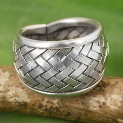 silver bead necklace - Modern Silver Band Ring with Woven Textures Crafted by Hand