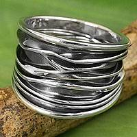 Sterling silver band ring, 'The River'