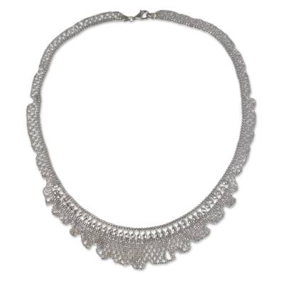 Beaded Sterling Silver Necklace Thai Artisan Jewelry