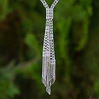 Sterling silver lariat necklace, 'Glamour on Ice' - Dramatic Lariat Style Necklace Made of Sterling Silver Chain