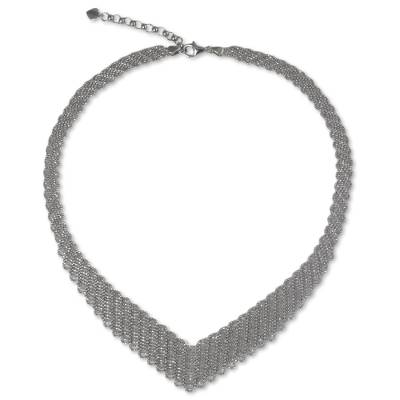 Woven Net Style Sterling Silver 925 Collar Necklace