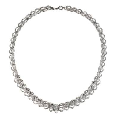 Lacy Collar Necklace Handcrafted of Sterling Silver