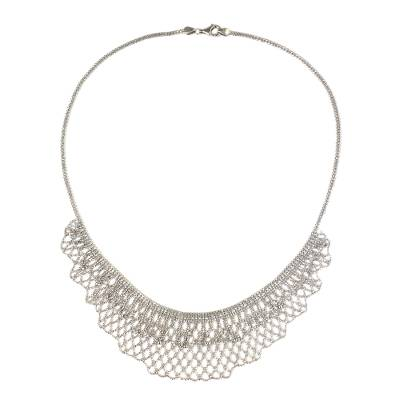 Vintage Look Sterling Silver Beaded Collar Necklace