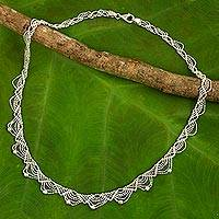 Sterling silver collar necklace, 'Deco Lace' - Lacy Sterling Silver Necklace Crafted from Ball Chain