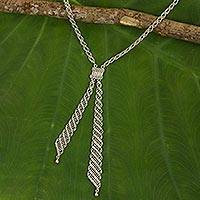 Sterling silver lariat necklace, 'Thai Lariat' - Beaded Sterling Silver 925 Chain Lariat Style Necklace