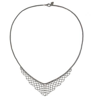 Sterling Silver Mesh Style Collar Necklace from Thailand